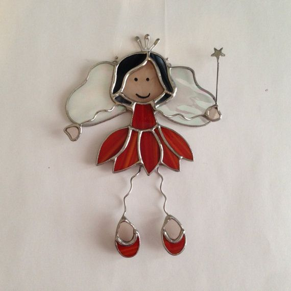 Stained Glass Fairy Princess Suncatcher by FoxStainedGlass on Etsy