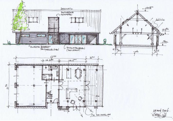 Schets gevel plattegrond en dwarsdoorsnede schuurwoning winsum plattegrond pinterest - Moderne buitenkant indeling ...