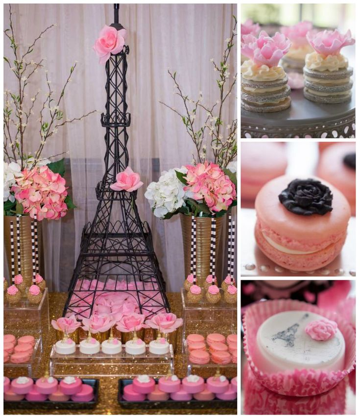 Doces decorados superfofos, macarrons e nakedcake para tema Paris