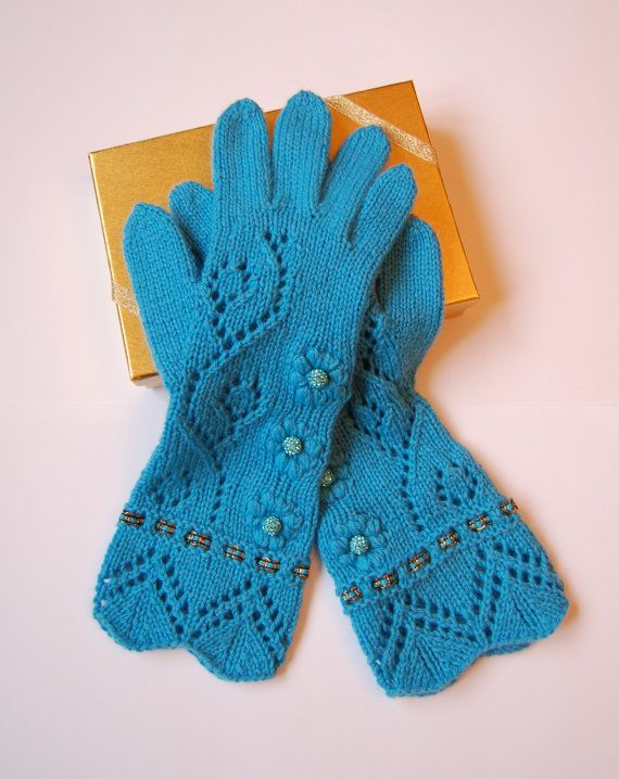 Knit Cashmere gloves with fingers, luxurious one of a knit pair of blue cashmere gloves with high quality beads SALE on Wanelo