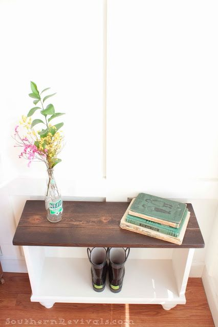 a storage bench for small entryway space