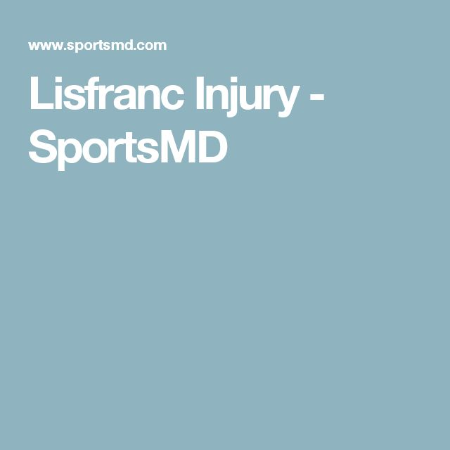 Lisfranc Injury - SportsMD