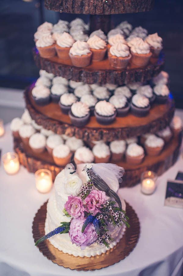 Rustic chic wedding cake and cupcake tower