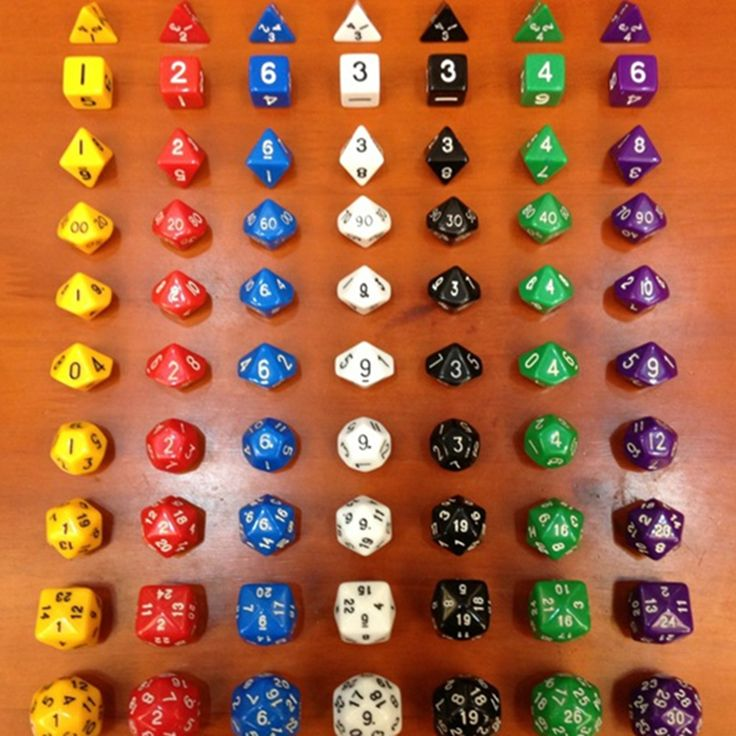 7 Color Choice Dices For Board Games, Dungeons DND run group, 10 Different Sides Dice (4 & 6 & 8 & 10x3 & 12 & 20 &24 & 30)/ Bag