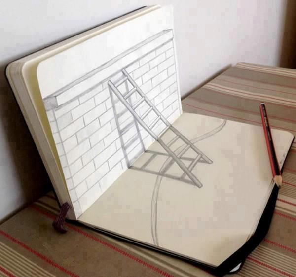 3. 3D Ladder - When viewed from a particular angle, 3D drawings come to life. The same goes for this simple ladder.