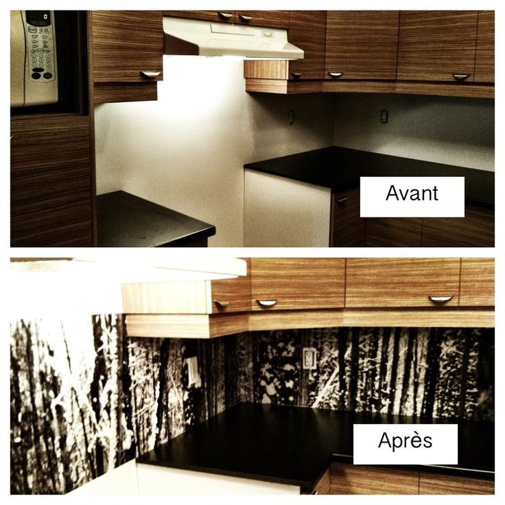 Notre dosseret de cuisine réalisé avec une photo agrandie