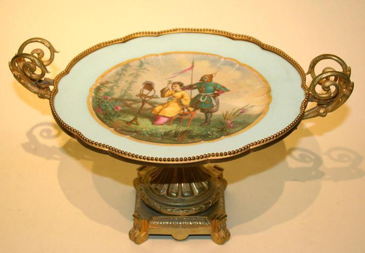 Ваза для фруктов. Фарфор, живопись подписная, бронза, чеканка, золочение, монтировка  1869 г. Севр, Франция