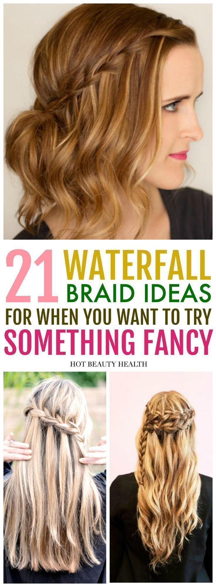21 easy waterfall braid hairstyles you'll love. Learn how to do styles with braids, ponytail, updos, and curls. These diy hair ideas are great for bridesmaids at weddings, for prom, and even casual styles for everyday. Click pin for the list of step by step tutorials! Hot Beauty Health #waterfallbraid #hairstyles #hairtutorial #hairbraids #diyhair #diyhairstylescurls #weddinghairstylesforbridesmaids #diyhairstylesforprom