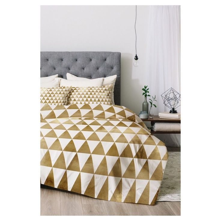 Gold Georgiana Paraschiv Triangle Pattern Comforter Set (Twin XL) 2pc - DENY Designs, Gold White