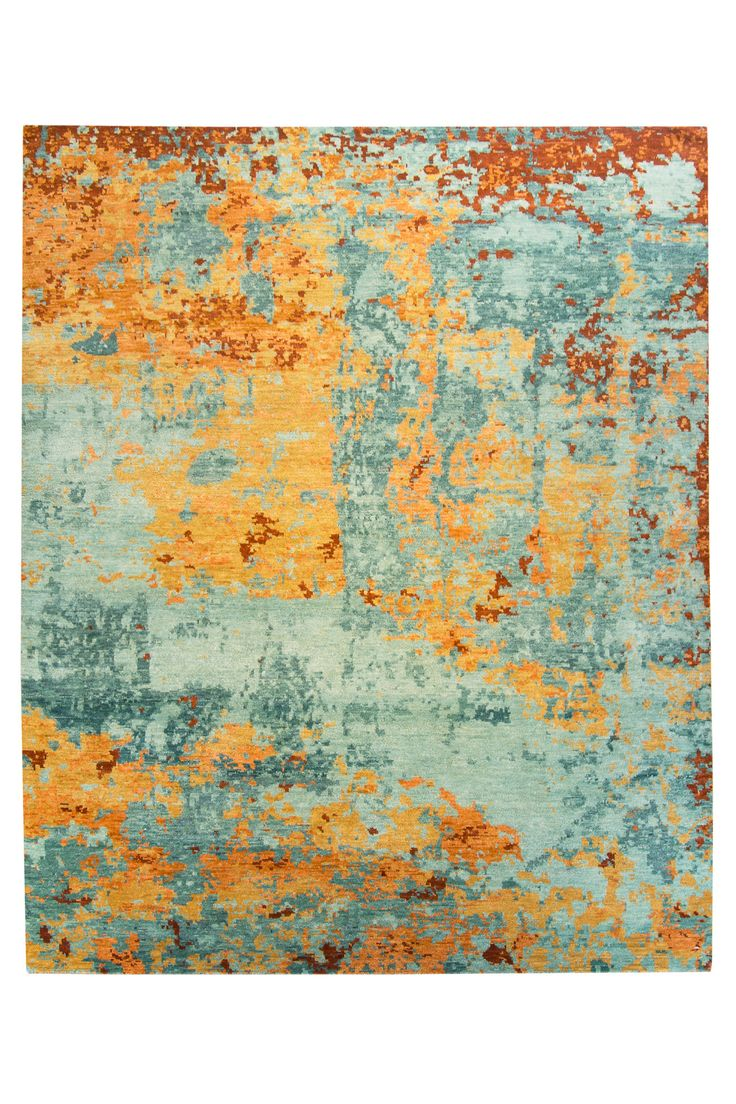 Abstract Teal Amp Orange Rug 8x10 In 2019 Rugs Orange