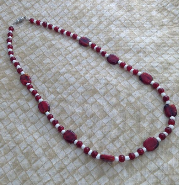 Red Glass Flat Oblong and 4mm Round Red Glass by PebblesAndTwiggs