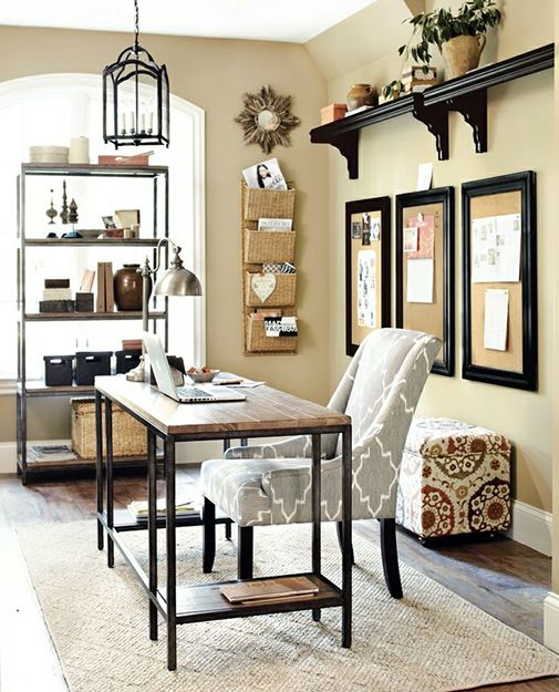 15 Great Home Office Ideas | Like the style of this room. I already have the fabric that the ottoman is covered in to recover a chair.