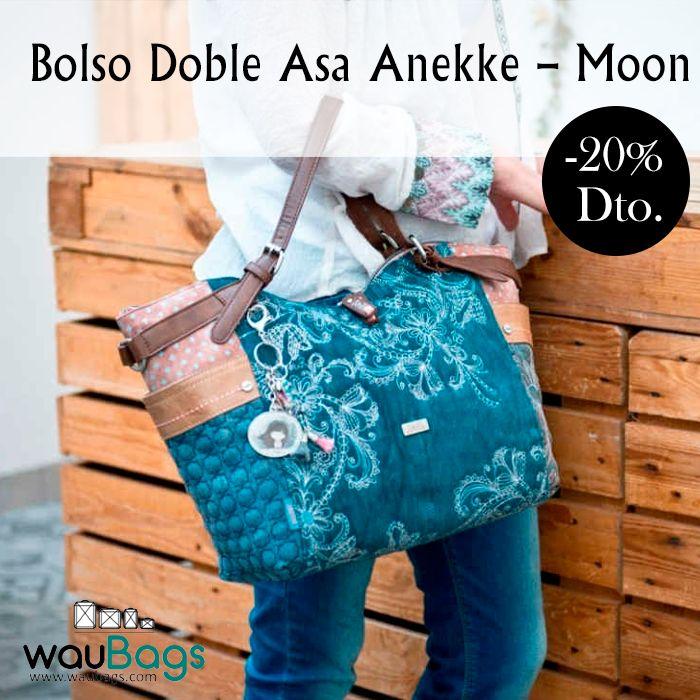 """Descubre en waubags.com el Bolso Doble Asa Anekke de la colección """"Moon"""", con un amplio compartimento principal con cierre de cremallera y varios bolsillos interiores y exteriores.   Con 2 asas para llevar el bolso colgado al hombro y tira regulable y ajustable para llevar el bolso al hombro o bien en bandolera. @waubags.com  #anekke #bolso #complementos #oferta #descuento #waubags"""