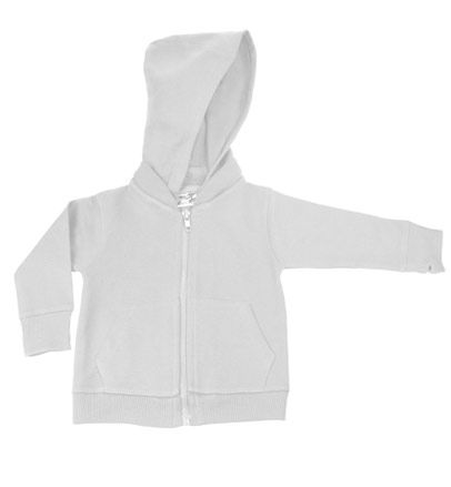 White Signature Zip Up Hoodie w/ Detachable Hood by My Baby Rocks - gender neutral baby clothes