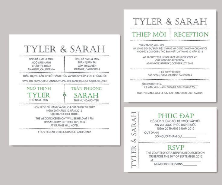 printable bilingual vietnamese wedding invitation set - green, Wedding invitations