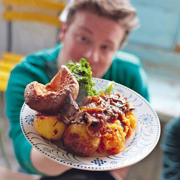 Mothership Sunday Roast Beef Brisket - Roast beef's thrifty little brother, brisket, is the perfect roast to serve your holiday guests if you're on a budget. Jamie shares his delicious recipe for this flavourful cut of meat along with yorkshire pudding and mashed root veggies