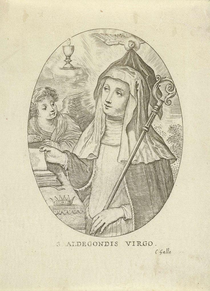 Cornelis Galle (II)   H. Aldegondis van Maubeuge, Cornelis Galle (II), Cornelis Galle (III), 1638 - 1678   De heilige Aldegondis lezend in een boek. Een duif legt haar een zwarte sluier op het hoofd. In haar linker hand houdt zij een staf. Naast haar aan tafel staat een engel. Boven de engel zweeft een kelk met een hostie.