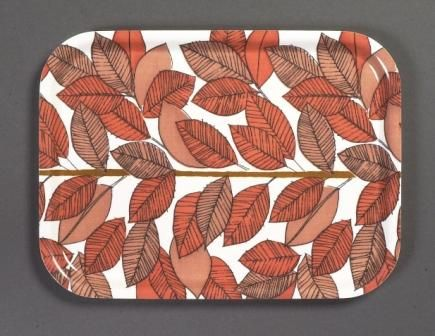 Birchwood tray with fabric (unknown design) 1950s