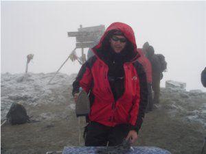 extreme ironing on the summit of Kilimanjaro