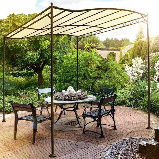 Captivating Details About Metal Gazebo Garden Canopy Patio Outdoor Tent Sunshade Sun  Shade Shelter Beige Gardens Metals And Tent With Garden Sun Shade Canopy