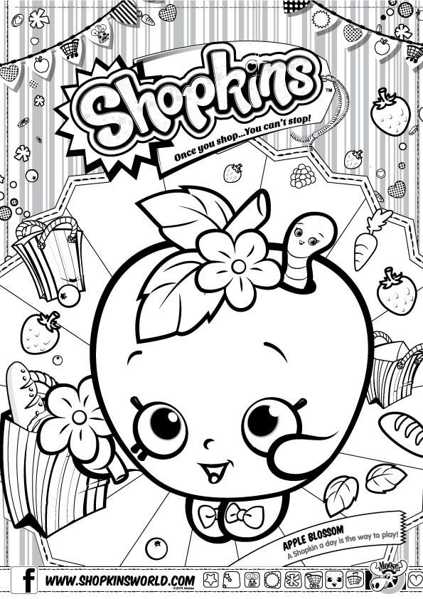 Shopkins Apple Blossom Coloring Pages Printable And Book To Print For Free Find More