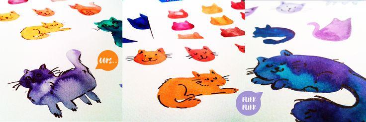 Fluffy watercolor cat pattern on Behance