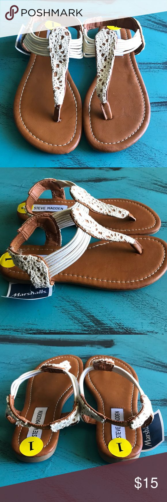 Steve Madden Demi Wedge Stretch Sandals Sz 1 New with tags. Lace t-strap sandals feature stretchy tops and back for a perfect fit. Sandals can be dressed up or down. Super chic for summer bbqs or everyday wear. Girls Size 1. We are a pet and smoke free home. Steve Madden Shoes Sandals & Flip Flops