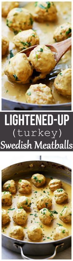 Lightened-Up Turkey Swedish Meatballs Recipe - Homemade turkey meatballs smothered in a light, yet very delicious gravy sauce.