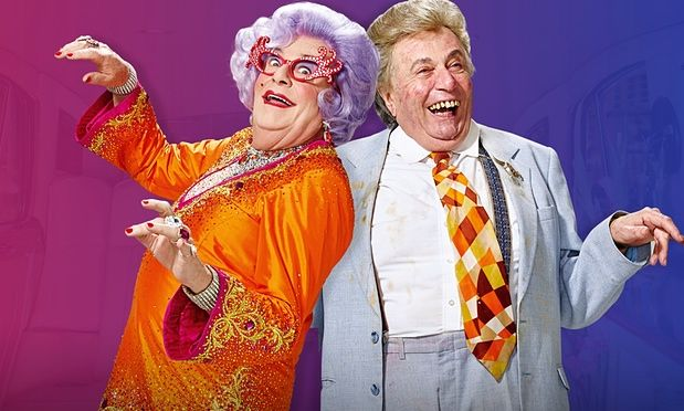 Barry Humphries' alter egos Dame Edna Everage and Sir Les Patterson in the promotional pic for a News Corp Australia campaign.