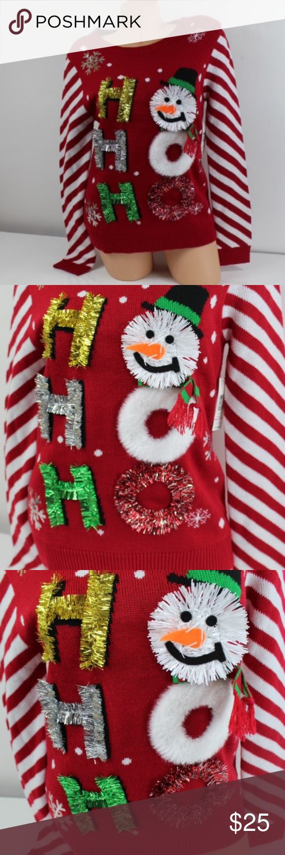 SALE CHRISTMAS UGLY SWEATER SALE CHRISTMAS UGLY SWEATER  HO HO HO GARLAND STREAMER THE 'O' UNDER THE SNOW MAN IS FUR   PERFECT FOR THE HOLIDAY SPIRT   NWT NO TRADES  JUST HAVE ONE LEFT IN STOCK!!! Sweaters
