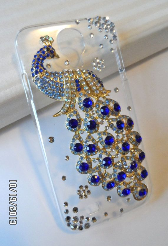 Peacock Samsung Galaxy S4 clear case, Bling beautiful peacock Galaxy S4 case with rhinestones
