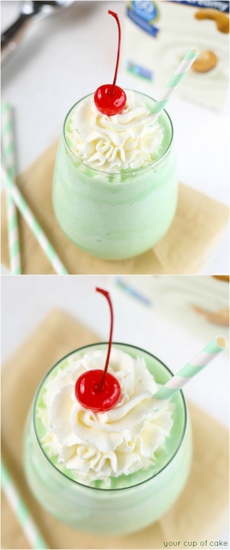 "Skinny Shamrock Shake that is so creamy and delicious you won't believe it's ""skinny"""