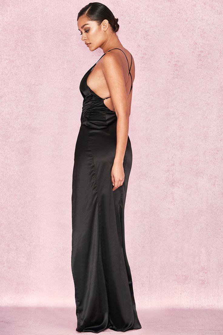 Clothing : Max Dresses : 'Fairuz' Black Draped Satin Maxi Gown