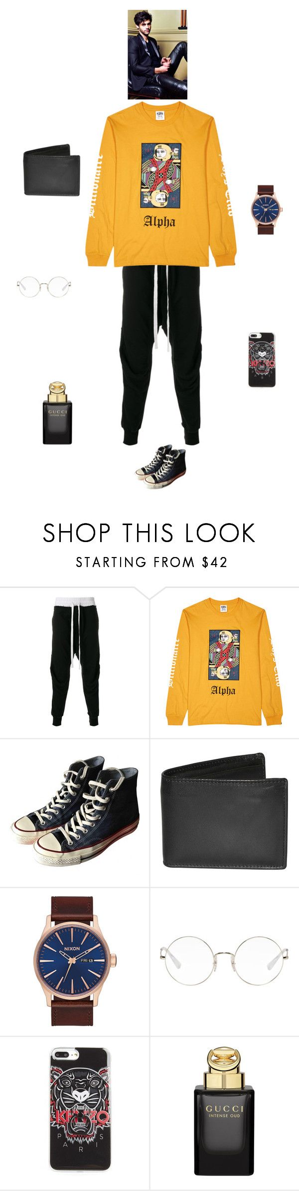 """K"" by queen-kaitlyn ❤ liked on Polyvore featuring Haider Ackermann, Billionaire Boys Club, Converse, Dopp, Nixon, Ray-Ban, Kenzo and Gucci"