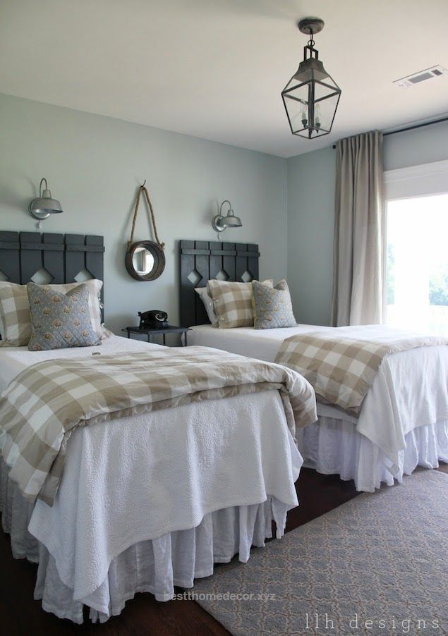 Magnificent Guest Bedroom Painted in 'Sea Salt' by Sherwin Williams. Love the cottage-country style! – by LLH Designs  The post  Guest Bedroom Painted in 'Sea Salt' by Sherwin Williams. Love the co ..