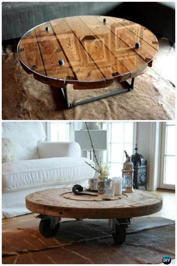 DIY Wire Spool Coffee Table - Wood Wire Spool Recycle Ideas #Furniture