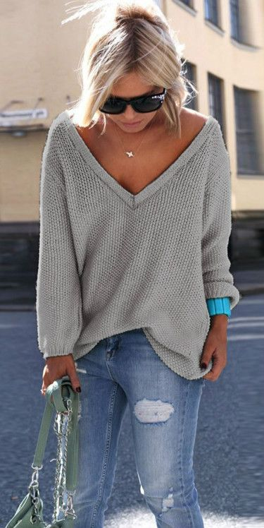 Women's V Neck Loose Fit Sweater