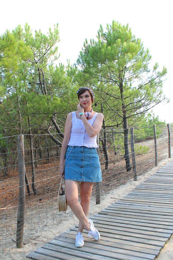 Buttoned denim mini skirt 70s  Mini jupe en jean boutonnée 70