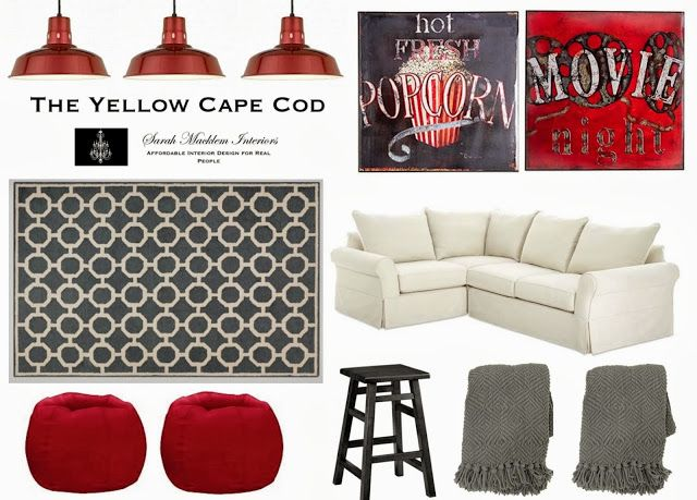 The Yellow Cape Cod: Kid Friendly Media Room - White and gray with pops of red, Gray Geometric Rug, Two Movie themed pieces of art, Gray throw, Red poufs, dark wood stool