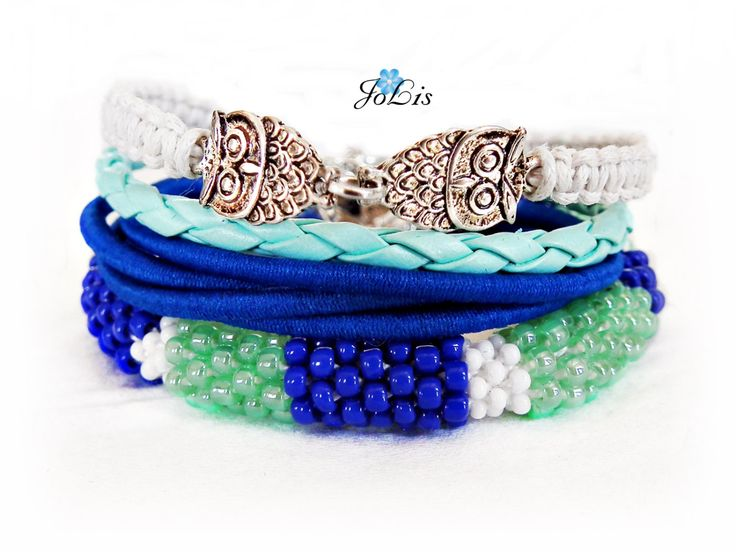 Set of Blue Bracelets Set Of 4 Bracelets Leather Bracelet Mega Jewelry Bundle Sapphire Birthsone Sapphire Birthday Gift September Birthstone by MadeByJoLis on Etsy