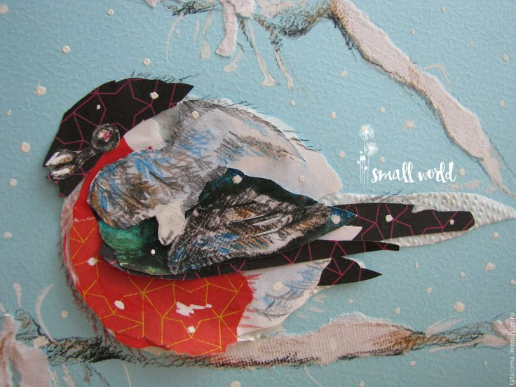 """Купить Открытка """"Снегирь"""" - комбинированный, Открытка ручной работы, авторская ручная работа, снегирь, зима"""