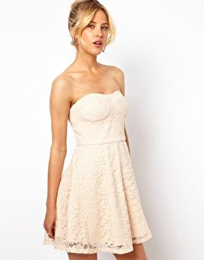 ASOS Structured Lace Bandeau Skater Dress. after. before. party. wedding. low cost short bride dress. 53,02€