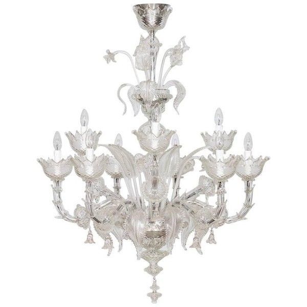 Italian Ca'rezzonico Chandelier In Transparent Murano Glass From 2017 ($8,000) ❤ liked on Polyvore featuring home, lighting, ceiling lights, chandeliers, clear, hanging island lights, italian chandelier, island lighting, flower chandelier and murano glass lamp