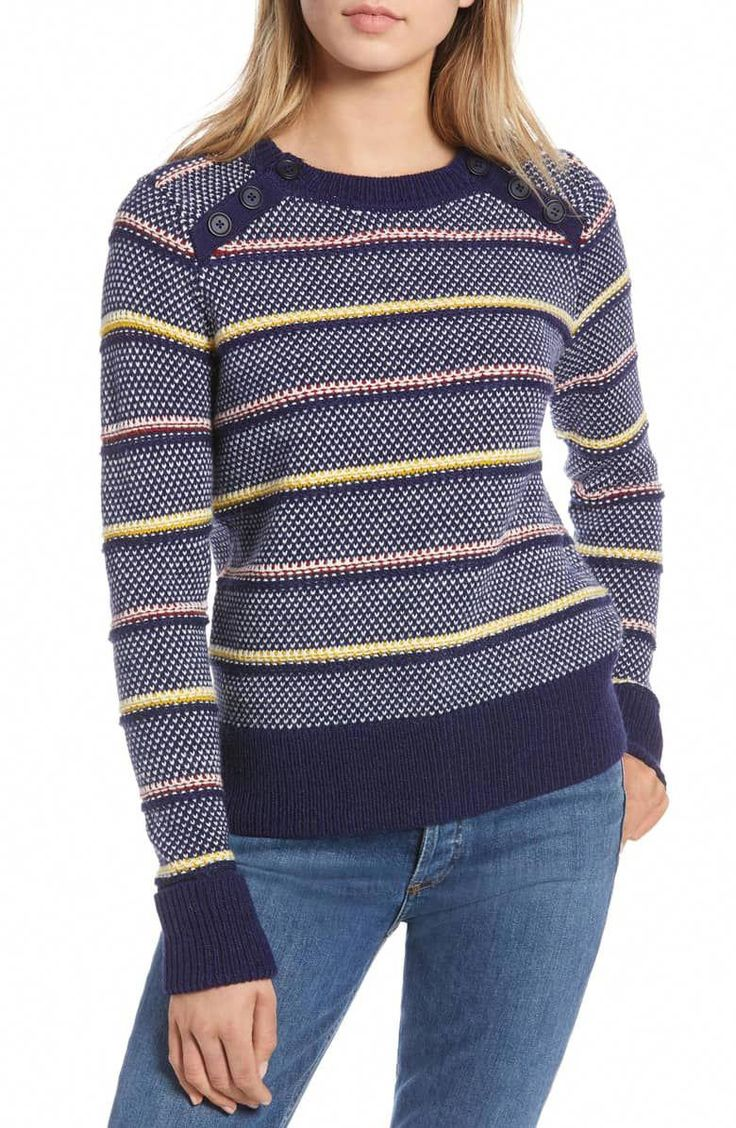 Button Detail Stripe Wool Blend Texture Sweater,                         Main,                         color, NAVY BERET PATTERN #MensFashionEdgy