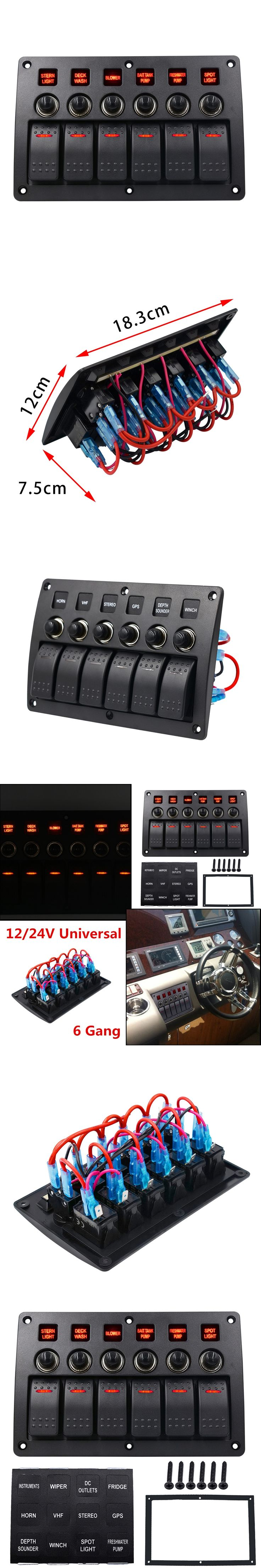 Boat Rocker Switch Panel 3 PIN 6 Gang 12v/24v Red Led Car Marine Circuit Breakers Charger Overload Protected Switch Panel
