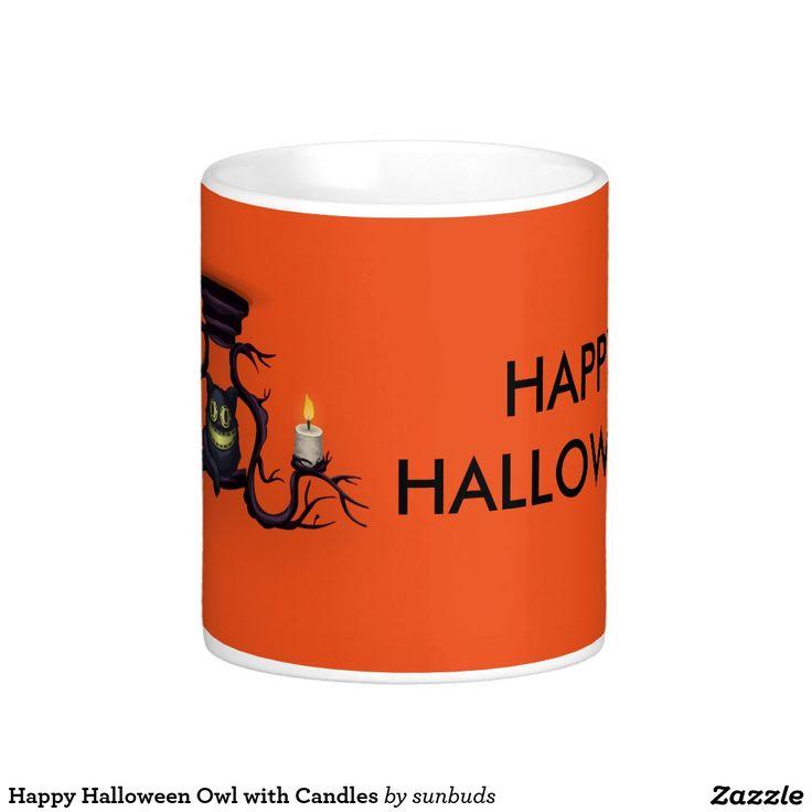 Happy Halloween Owl with Candles Coffee Mug
