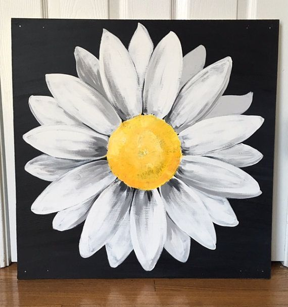 Large Black And White Original Daisy Painting On Wood