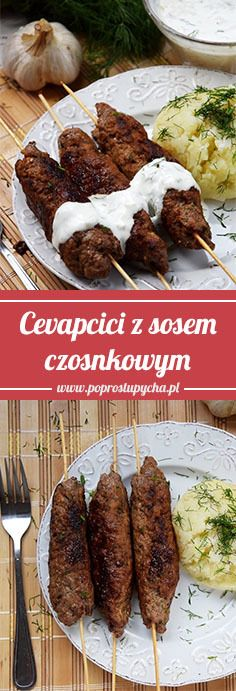 Cevapcici - wołowe szaszłyki, smażone na patelni do grilowania :) Coś pysznego! Polecam z domowym sosem czosnkowym :) #poprostupycha #przepis #obiad #cevapcici