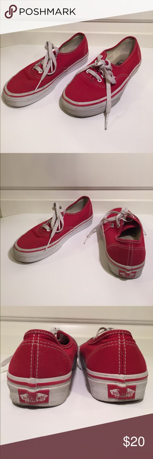 Vans Authentic Red Youth Size 6. Vans Authentic Red Youth Size 6. Please note, shoes show signs of wear but are in fair condition. I've taken plenty of pictures to show condition of shoes. Vans Shoes Sneakers