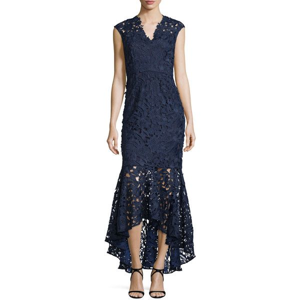 Shoshanna Sleeveless Lace Mermaid Gown ($540) ❤ liked on Polyvore featuring dresses, gowns, navy, blue ball gown, navy lace dress, blue lace gown, blue floral dress and navy blue ball gown
